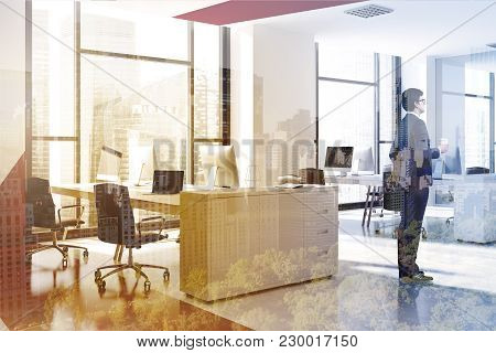 White And Red Office Interior With White Computer Tables, Black Chairs, And A White And Red. A Side