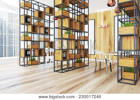 Ligth Wooden Wall Office Corner With A Wooden Floor A Black Bookcase And A Large Window. 3d Renderin