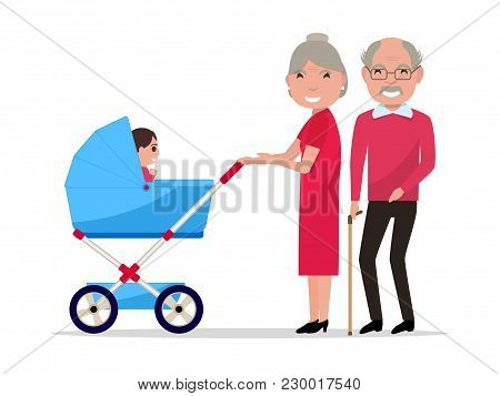 Vector Illustration Of Cartoon Character Elderly Man And Woman With Baby Carriage. Isolated White Ba
