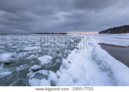 Frozen coastline of Baltic Sea in Gdynia, Poland