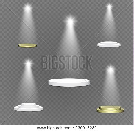Podium On A Transparent Background.the Podium Of Winners With Bright Lights.spotlight.lighting.vecto