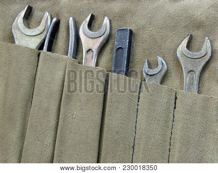 Wrenches In A Fabric Case And Tools.