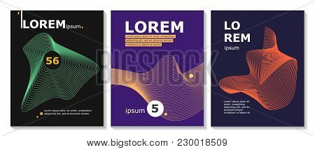 Set Of Brochure, Annual Report, Flyer Design Templates With Line Shapes. Vector Illustrations For Bu