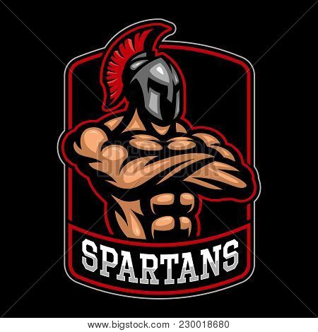 Spartan Warrior Logo Design On Dark Background