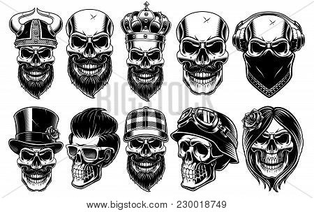 Set Of Different Skulls. Shirt Designs, Badges, Stickers With Viking, King, Gentleman, Barber, Biker