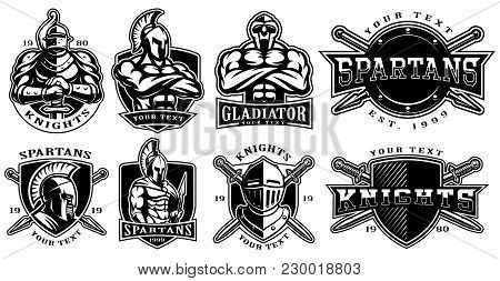 Set Of Logos, Badges With Knights, Gladiators, Spartan Warriors. Logo Design For Fight Clubs, Fitnes