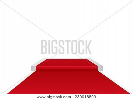 Red Carpet On A Circular Podium.the Podium Of Winners.vector Illustration.stage With For Award Cerem