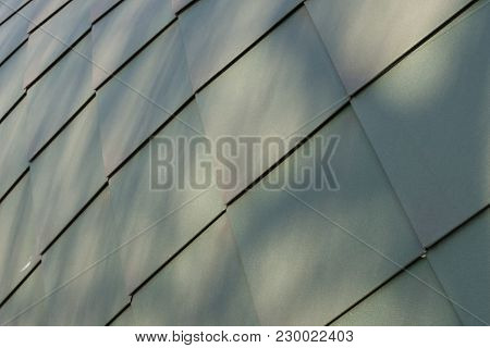 Dark Green Metal Roof Tiles With Shadows