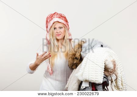 Accessories And Clothing For Cold Days, Fashion Concept. Blonde Woman In Winter Warm Furry Hat Russi