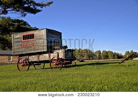 Rice Lake, Wisconsin, September 29, 2016: The Antique U.s. Marshal Paddy Wagon Is From The U.s.marsh
