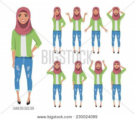 Muslim Young Woman Wearing Hijab. Set Of Emotions And Poses.