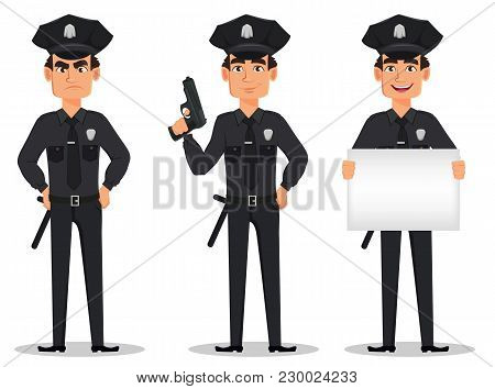 Police Officer, Policeman. Set Of Cartoon Character Cop Angry, With A Gun And With Placard. Vector I
