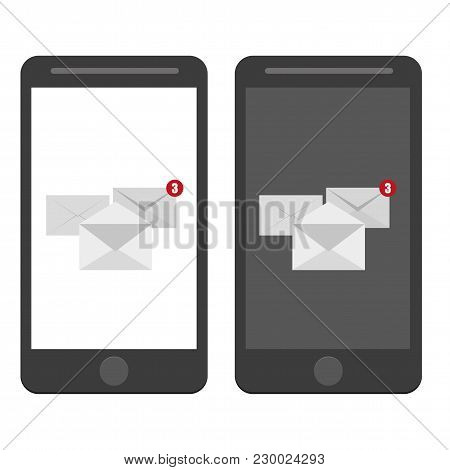 White Envelope Letter With Counter Notification, Concept Of Incoming Email Message, Mail Delivery Se