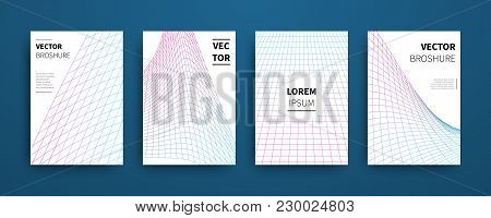 Modern Abstract Geometric Linear Grid Covers Set. Minimal Colorful Trendy Templates Design. Poster B