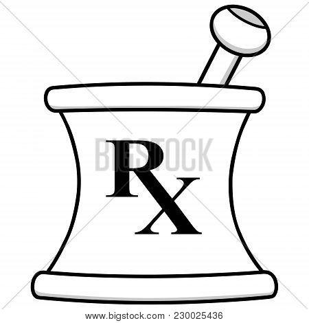 Pharmacy Mortar Illustration - A Vector Cartoon Illustration Of A Pharmacy Mortar Icon.