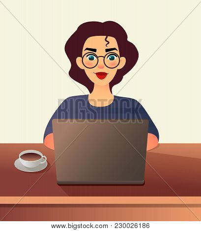Girl Freelancer. Young Woman In Glasses Works At Home Sitting In Front Of A Laptop. Cartoon Flat Gir