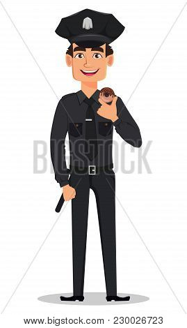 Police Officer, Policeman With Tasty Donut. Cartoon Character Cop. Vector Illustration Isolated On W