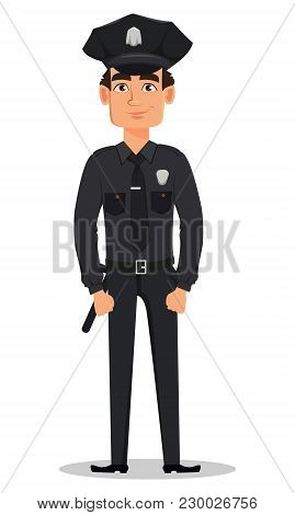 Police Officer, Policeman Standing Straight. Smiling Cartoon Character Cop. Vector Illustration Isol