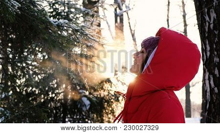 A Beautiful Girl Enjoys The Fresh Air In The Winter Forest, Exhales Couples From Her Mouth, Slow Mot