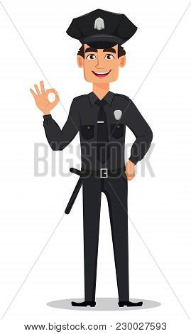 Police Officer, Policeman Showing Ok Sign. Smiling Cartoon Character Cop. Vector Illustration Isolat