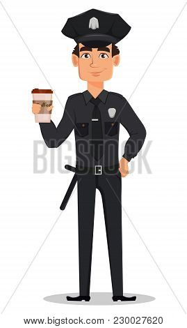 Police Officer, Policeman With A Cup Of Coffee. Smiling Cartoon Character Cop. Vector Illustration I