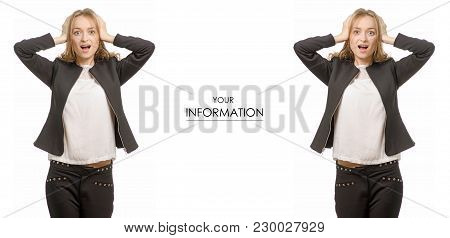 Beautiful Young Woman Business Working Emotion In Shock Holds On To Head Set Pattern On White Backgr