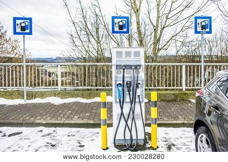 New Charging Stations At A Service Station In Germany, Europe