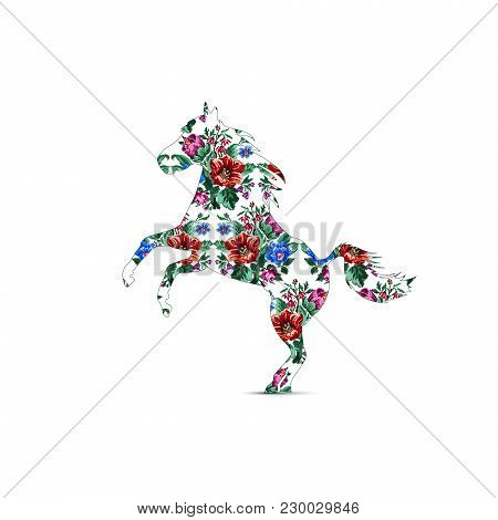 Silhouette Of Horse With Color Bouquet Of Wildflowers (lilia, Bellflower, Barberry Flower And Cornfl