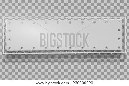 Blank Horizontal Banner, Streamer, Mockup, Isolated. Outdoors Information Ridgepole For Inscriptions