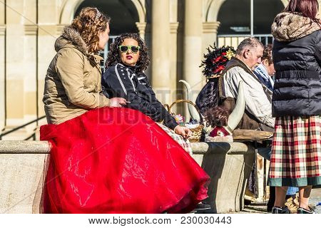 Stuttgart , Germany - February 19 2018 : People Enjoying The Shrove Tuesday During The Fasching Seas