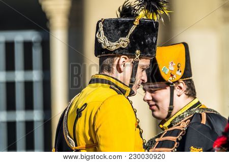 Stuttgart , Germany - February 19 2018 : Man Making A Serious Face During The Shrove Tuesday Parade