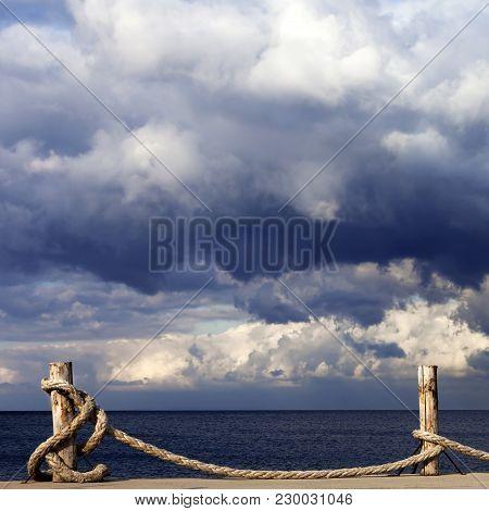 Seafront, Sea And Cloudy Sky Before Storm. Turkey, Erdek, Coast Of Marmara.