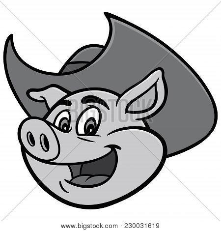 Pig With Cowboy Illustration - A Vector Cartoon Illustration Of A Pig With Cowboy.