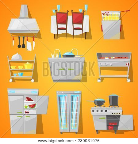 Restaurant Interior Vector Cafe Furniture And Kitchen Appliance Of Dining Room In Furnished Cafeteri