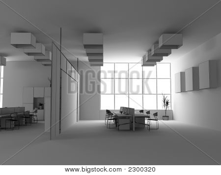 the modern office interior wire design sketch (3d render) poster