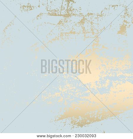 Abstract Grunge Pattina Effect Pastel Gold Retrotexture. Trendy Chic Background Made In Vector For Y