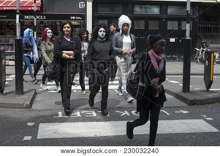 London, England - 31st October, 2016 Youngsters In Fancy Dress For Halloween During Community Trick