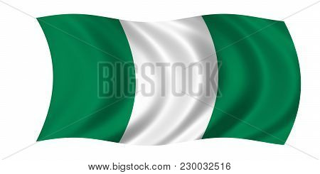 Waving Nigerian Flag In The Colors Green And White