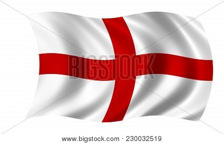 Waving English Flag In The Colors Red And White