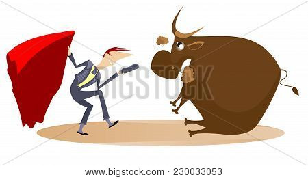 Cartoon Bullfighter And Tired Bull Illustration. Cartoon Bullfighter Takes Off His Hat And Teases Th