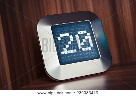 The Number 20 On A Digital Calendar, Thermostat Or Timer