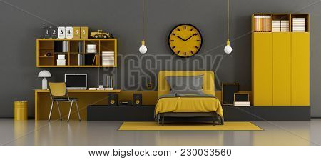 Black And Yellow Kids Room With Bed And Desk - 3d Rendering