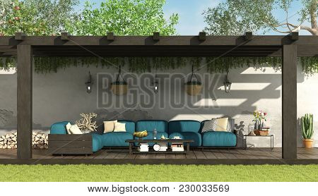 Blue Sofa Under A Wooden Pergola In A Home Garden - 3d Rendering