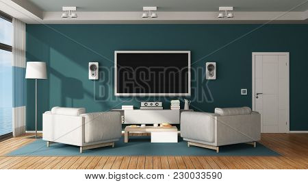Blue And White Living Room With Home Cinema System - 3d Rendering