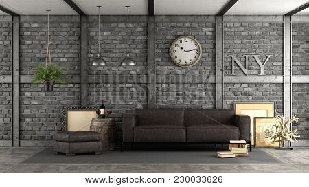 Livng Room In A Loft With Black Brick Wall,iron Beams And Leather Sofa - 3d Rendering