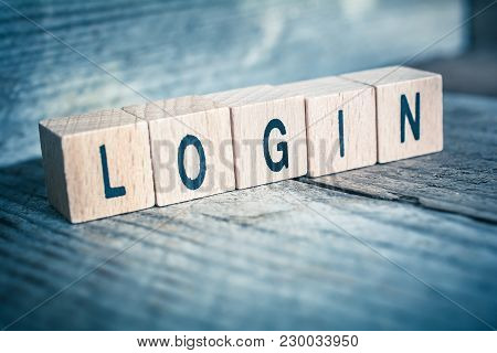 Macro Of The Word Login Formed By Wooden Blocks On A Wooden Floor