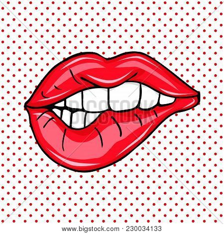 Sweet Sexy Pop Art Pair Of Glossy Vector Lips. Open Sexy Wet Red Lips With Teeth Pop Art Set Backgro
