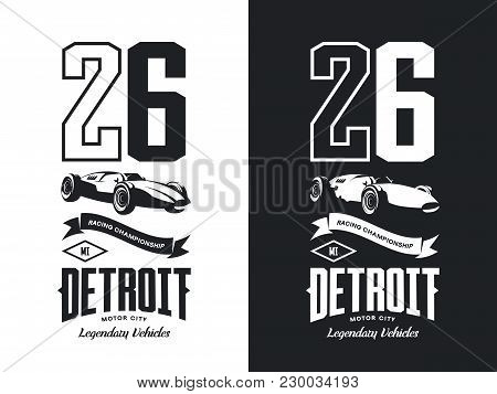 Vintage Sport Vehicle Black And White Isolated Vector Logo.premium Quality Number Logotype Tee-shirt