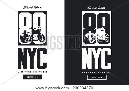 Vintage Bikers Club Black And White Isolated Vector T-shirt Logo.premium Quality Motorcycle Logotype