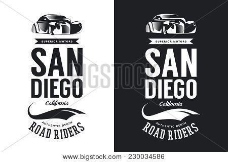 Vintage Classic Vehicle Black And White Vector Logo Isolated.premium Quality Retro Car Logotype Tee-